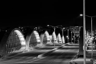 Photograph - 7th Street Bridge Fort Worth B/w by Rospotte Photography