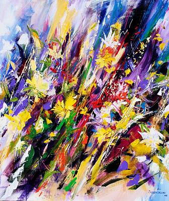 Colourful Painting - Abstract Flowers by Mario Zampedroni