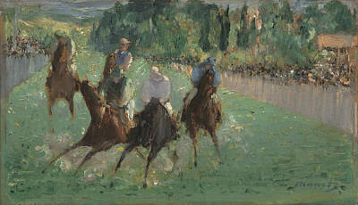 Race Horse Painting - At The Races by Edouard Manet