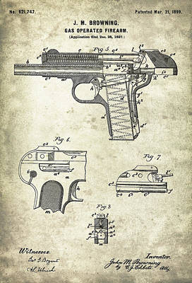 Old Digital Art - Automatic Pistol Operated By Gas - Patent Drawing For The 1899 Gas Operated Firearm By J. M. Brownin by Jose Elias - Sofia Pereira