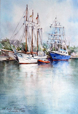 Boats Painting - Barcelona by Natalia Eremeyeva Duarte