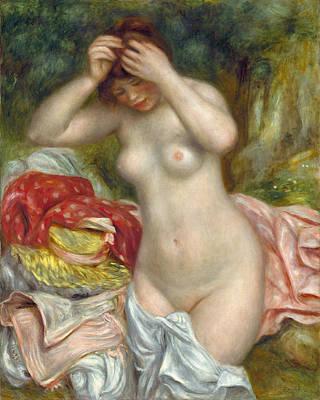 Bather Arranging Her Hair Renoir Painting - Bather Arranging Her Hair by Pierre-Auguste Renoir