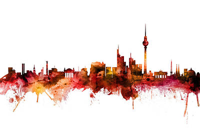 Digital Art - Berlin Germany Skyline by Michael Tompsett