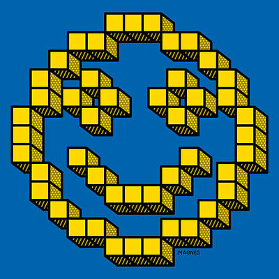 Digital Art - 8 Bit Smiley Face by Ron Magnes