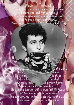 Rock Stars Mixed Media - Bob Dylan Art by Marvin Blaine