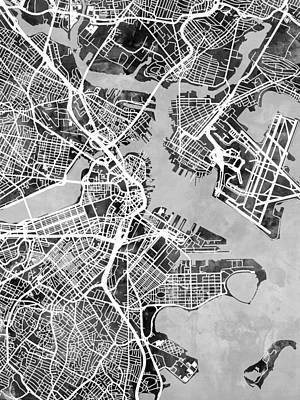 Boston Digital Art - Boston Massachusetts Street Map by Michael Tompsett