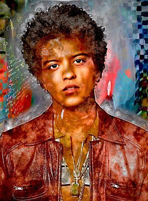 Mixed Media - Bruno Mars by Marvin Blaine