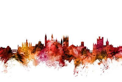 Digital Art - Cambridge England Skyline by Michael Tompsett