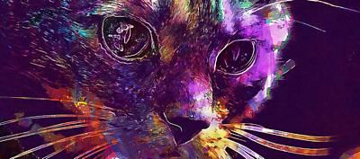 Digital Art - Cat Red Cute Mackerel Tiger Sweet  by PixBreak Art