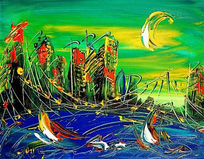 Water Sports Poster Painting - Cityscape by Mark Kazav