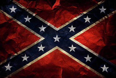 Old Signs Photograph - Confederate Flag by Les Cunliffe