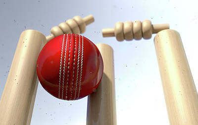 Bounce Digital Art - Cricket Ball Hitting Wickets by Allan Swart