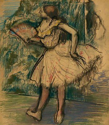 Drawing - Dancer With A Fan -- by Edgar Degas