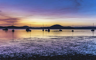 Dawn Waterscape Over The Bay With Boats Art Print