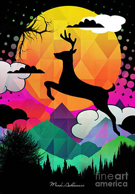 Minimal Landscape Digital Art - Deer by Mark Ashkenazi