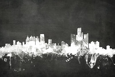 Blackboard Digital Art - Detroit Michigan Skyline by Michael Tompsett
