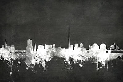 Blackboard Digital Art - Dublin Ireland Skyline by Michael Tompsett