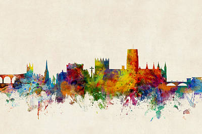 Digital Art - Durham England Skyline Cityscape by Michael Tompsett
