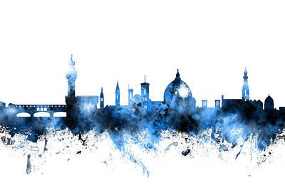 Florence Digital Art - Florence Italy Skyline by Michael Tompsett