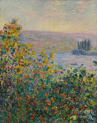 Painting - Flower Beds At Vetheuil by Claude Monet