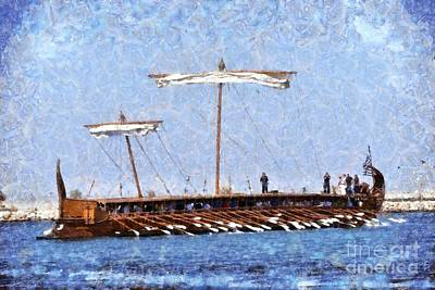 Ship Painting - Painting Of An Ancient Trireme by George Atsametakis