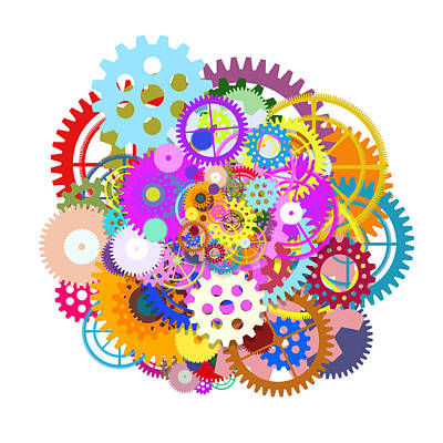 Multicolored Digital Art - Gears Wheels Design  by Setsiri Silapasuwanchai