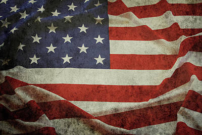 Photograph - Grunge American Flag 1 by Les Cunliffe
