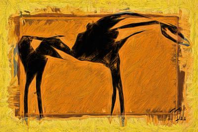 Digital Art - Los Caballos De Los Viejos Taos by Terry Fiala
