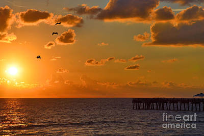 Photograph - 8- Juno Beach Pier Sunrise by Joseph Keane