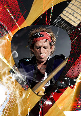 Music Mixed Media - Keith Richards Art by Marvin Blaine