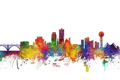 Digital Art - Knoxville Tennessee Skyline by Michael Tompsett
