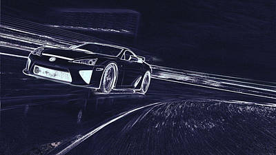 Digital Art - Lexus Lfa  by PixBreak Art