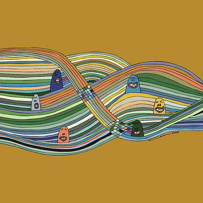 Line Faces Art Print by Karl Addison