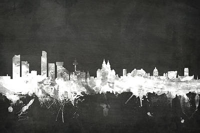 Blackboards Digital Art - Liverpool England Skyline by Michael Tompsett