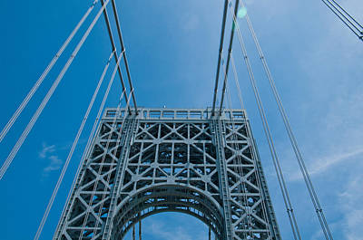 Low Angle View Of A Suspension Bridge Art Print by Panoramic Images
