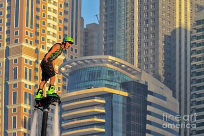 Jetpack Photograph - Male Flyboarder In Dubai, Uae by Ivan Batinic