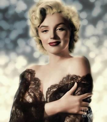 Actors Digital Art - Marilyn Monroe, Actress and Model by Mary Bassett
