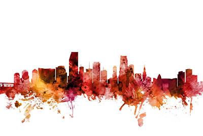 Miami Skyline Wall Art - Digital Art - Miami Florida Skyline by Michael Tompsett