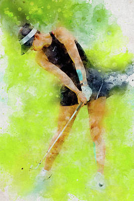 Digital Art - Michelle Wie by Don Kuing