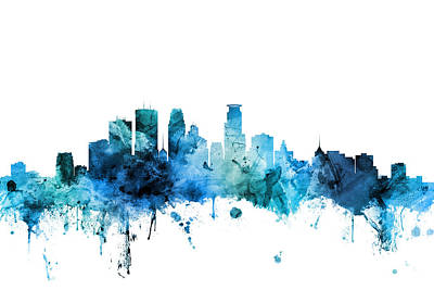 Minneapolis Wall Art - Digital Art - Minneapolis Minnesota Skyline by Michael Tompsett