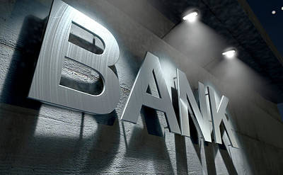 Laser Cut Digital Art - Modern Bank Building Signage by Allan Swart