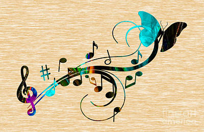 Butterfly Mixed Media - Music Flows Collection by Marvin Blaine