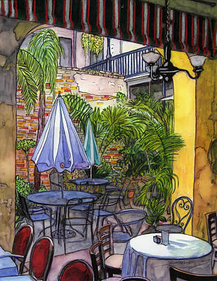 New Orleans Drawing - 8  Napoleon House Courtyard by John Boles