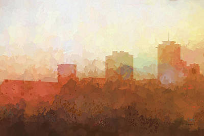 Digital Art - New Orleans Louisiana Skyline by Marlene Watson