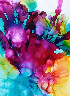 Alcohol Ink Wall Art - Painting - Flower Garden by Chris Boothe
