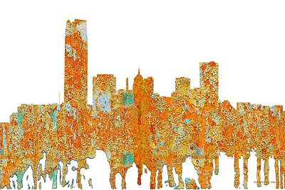 Digital Art - Oklahoma City Oklahoma Skyline by Marlene Watson