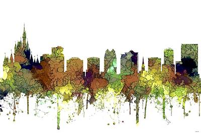 Digital Art - Orlando Florida Skyline by Marlene Watson