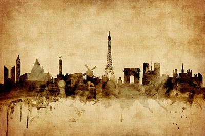 Silhouette Digital Art - Paris France Skyline by Michael Tompsett