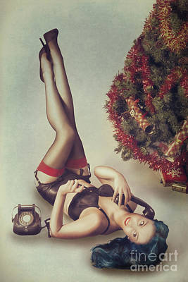 Pin Up Girl Art Print by Amanda Elwell
