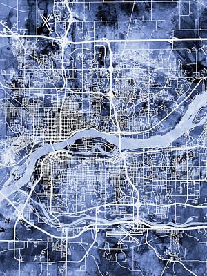 Iowa Digital Art - Quad Cities Street Map by Michael Tompsett